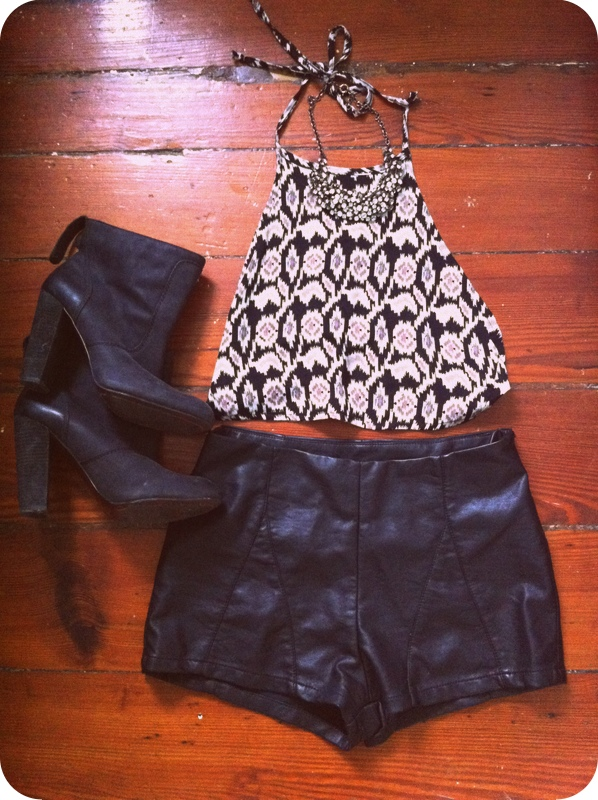 #leather #shorts #halter #sparkle #necklace #booties #heels #rosegold #gilt