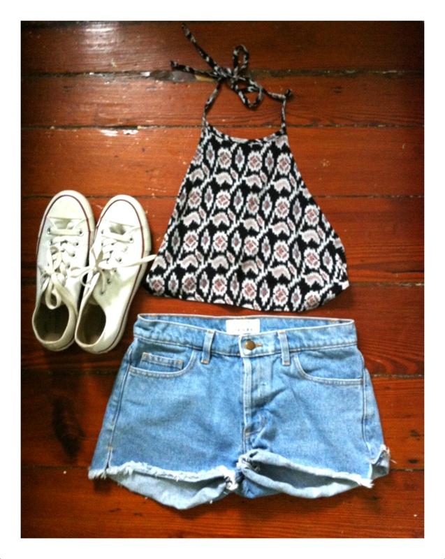 #denim #shorts #american apparel #converses #halter