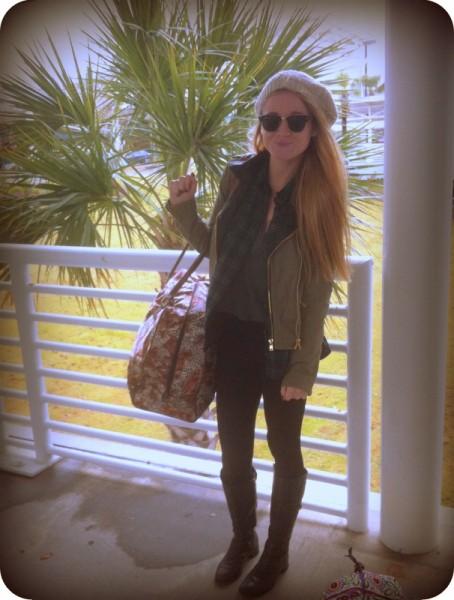 #flannel #beanie #leggings #boots #etienneaigner #raybans #kathyvanzeeland #militaryjacket #brandymellville