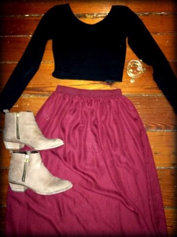 #maxiskirt #croptop #americanapparel #stevemadden #riovista #alexandani