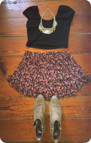 #ruffleshorts #croptop #booties #stevemadden #necklace #h+m