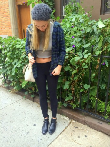 #flannel #cropped #sweater #fitted #leggings #beanie #brandymelville #katespade
