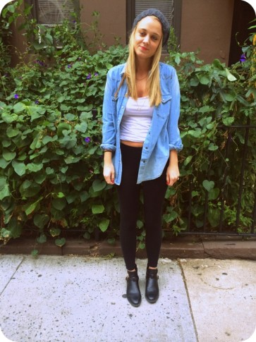 #denim #shirt #buttondown #urbanoutfitters #leggings #booties #beanie