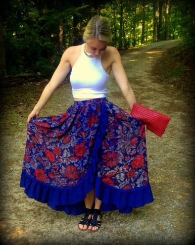 #maxiskirt #tobi #floral #croptop #gladiators #flowy